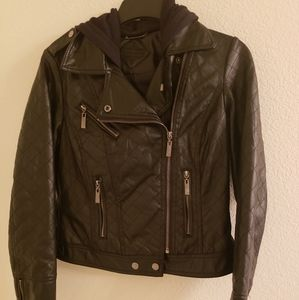 Juniors Leather Bomber Jacket